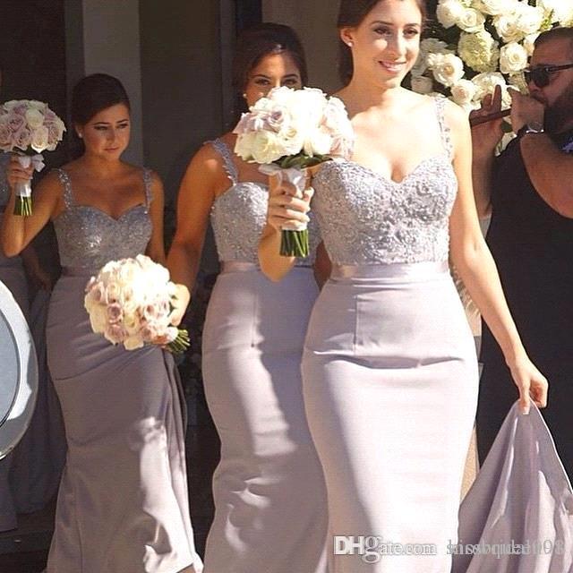 Платья для подружек невесты с кружевами и длинными рукавами Формальные вечерние платья с кружевами Бисероплетение Милая шея на молнии Задняя атласная ткань Вечерние платья