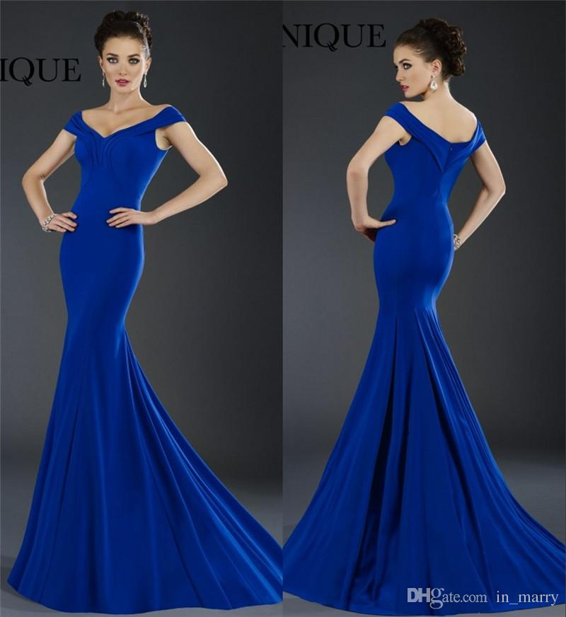a4e1044e793d0 2016 Janique Royal Blue Prom Dresses Mermaid Off Shoulder Plus Size African  Formal Party Evening Gowns Long Satin Simple Cheap Women S Dress Off The ...