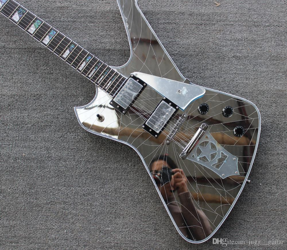 Rare Crack Mirror Wash Iceman Paul Stanley Signature Electric Guitar Star Shape Mirror Tailpiece Mirror Pickguard Abalone & MOP Block Inlay