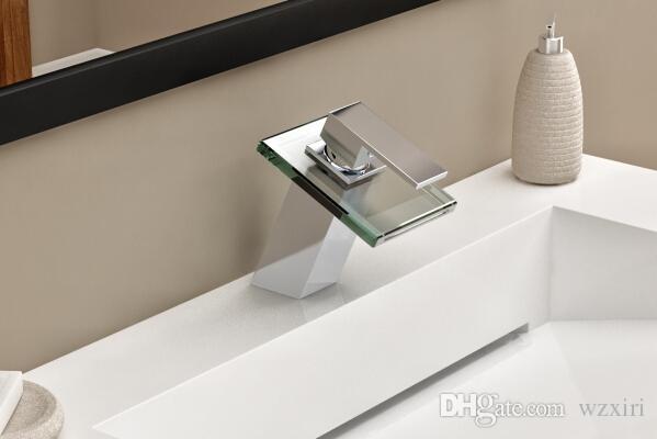 Стеклянный кран смеситель ванной раковина бассейна кран хромированная латунь стекло водопад кран C3051
