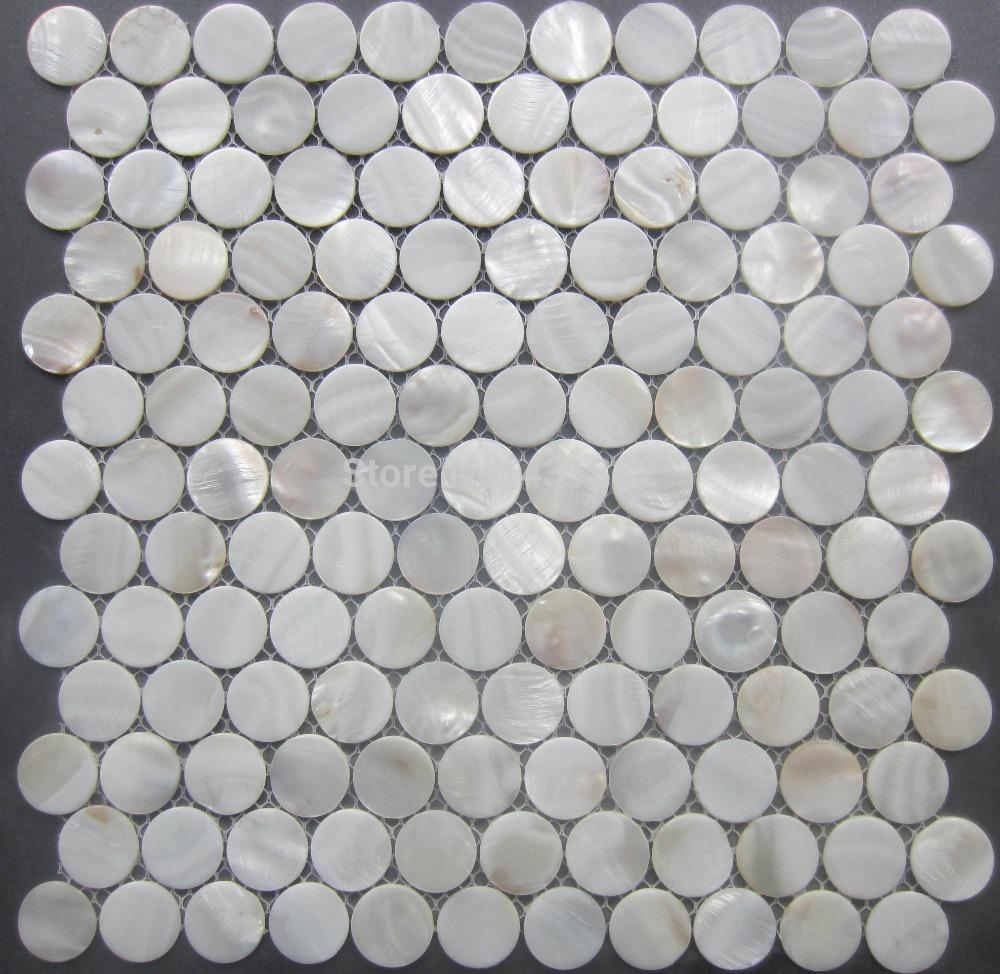 2018 White Mother Of Pearl Tiles Circular Shell Mosaic Tiles