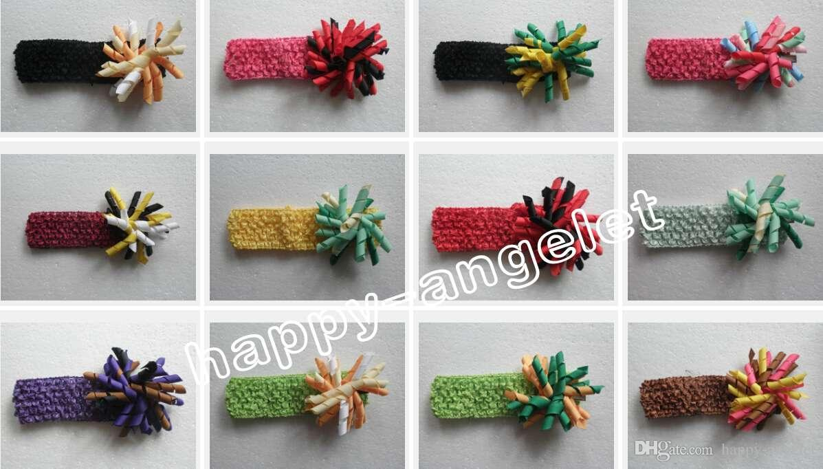 baby flower hair bows waffle Crochet headband curly ribbon korker satin hair clip hairband corker Head wraps flowers PD011
