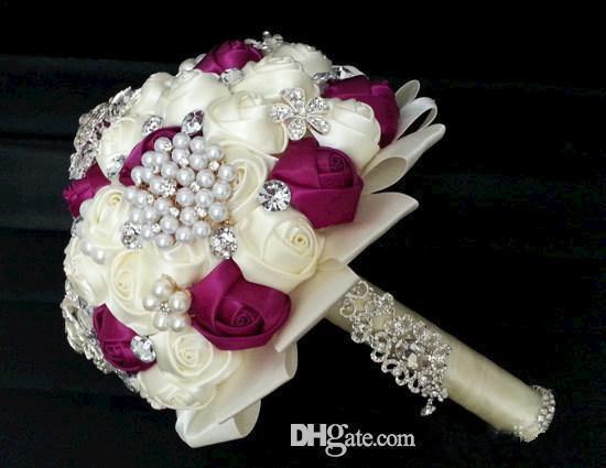 Wedding Dresses Satin Bouquet Crystal Handmade Flowers