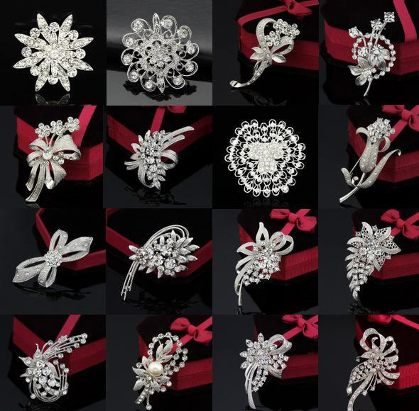 Top Grade Brooches Pins For Women Girl Gift Hot Sale Fashion Silver Crystal Rhinestone Flower Bouquet Pin Brooche Wholesale Free 0006DR