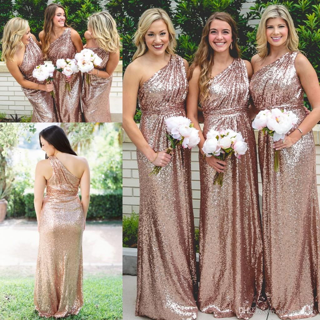 Rose Gold Sequin Country One Shoulder Bridesmaid Dresses 2018 Vintage Long Bohemian Outdoor Wedding Party Guest Junior Dress Cheap Discount