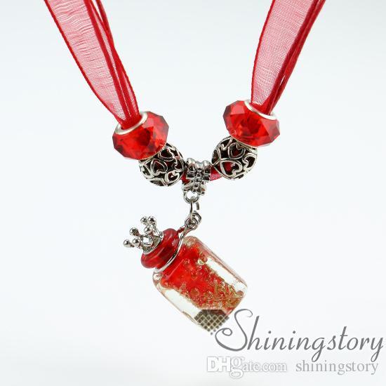 Aromaterapi kolye difüzör kolye difüzör el yapımı cam yağı difüzör kolye parfüm şişeleri toptan uçucu yağ kolye diffüz