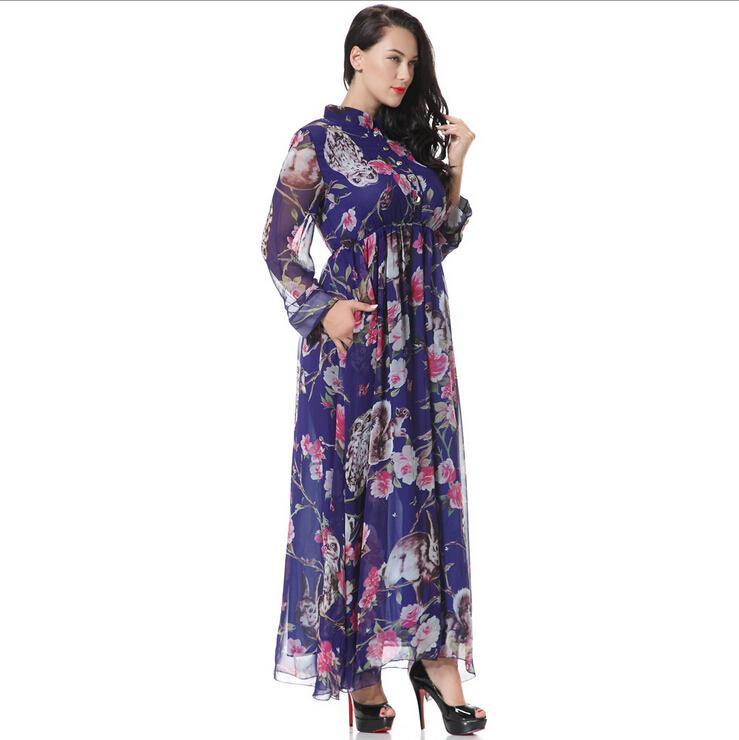 2016 nova primavera chiffon vestidos casuais para mulheres moda impressão floral gola de manga comprida com bolso maxi dress plus size m-6xl
