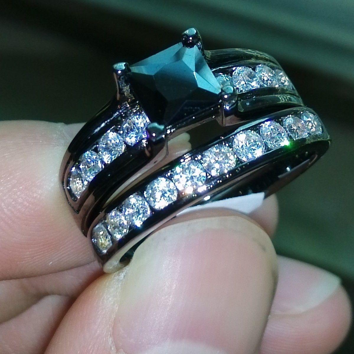 Vintage Size 5-10 Engagement Retro Jewelry 10kt black gold filled white topaz Gem women wedding simulated Diamond Wedding Ring set gift