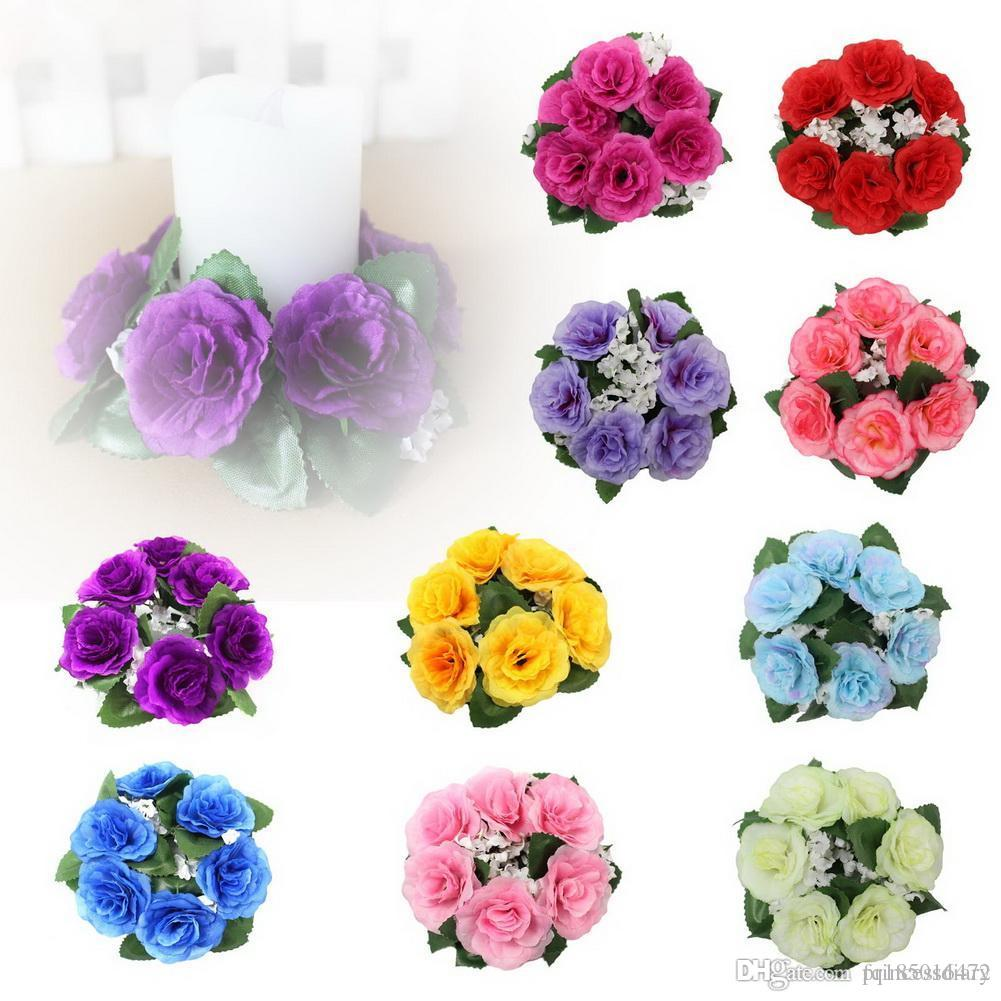 Discount Floral Candle Rings Wedding Centerpieces Silk Roses Flowers ...