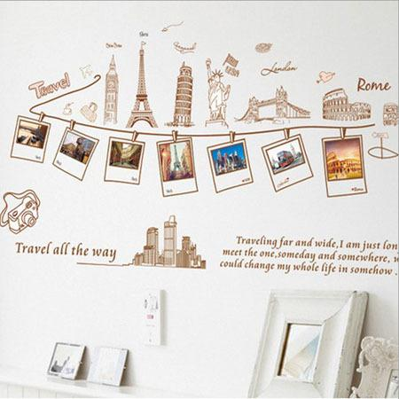 diy wall stickers euramerican style traveling around the world wall