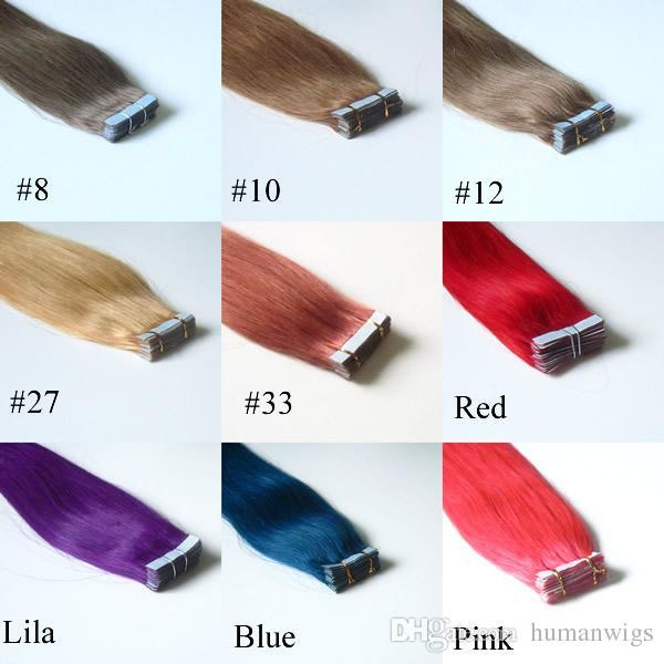 19 Cores Mix 16 Polegada para Fita de 24 Polegadas em Extensões de Cabelo Humano da Pele, Remy Tape Extensões de Cabelo, 20 pçs / saco 30g, 40g, 50g, 60g, 70g / Bag Frete Grátis