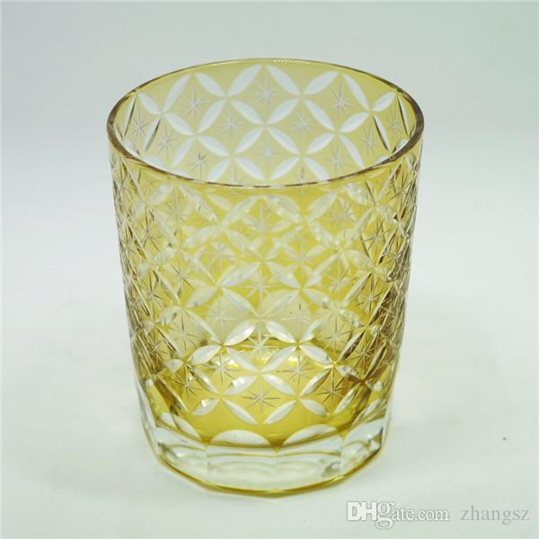 Bohemian Czech Cobalt yellow hand Cut to Clear glass water cup beer cup drinkware bicchiere tableware