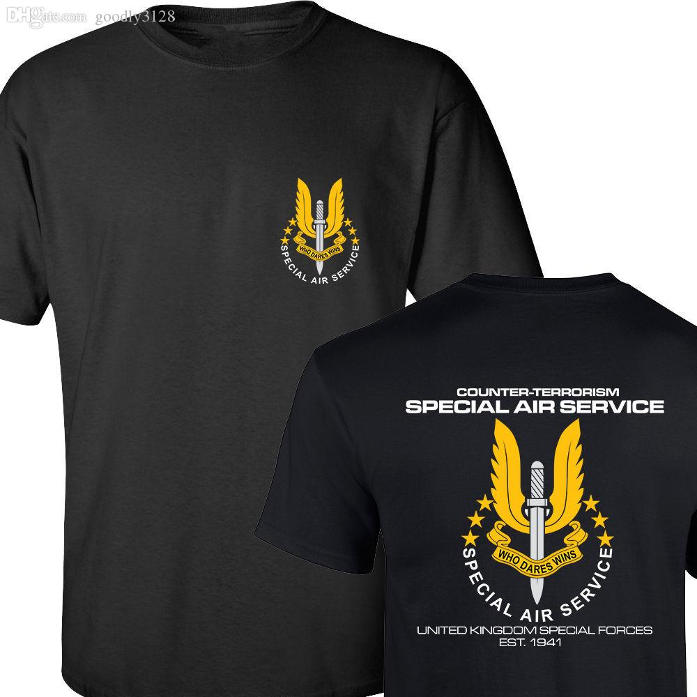 Wholesale-SAS SPECIAL AIR SERVICE BRITISH ARMY REINO UNIDO SPECIAL FORCE SNIPER MEN'S T SHIRT AMBOS LADOS IMPRESO ALGODÓN BÁSICO TOP TEES