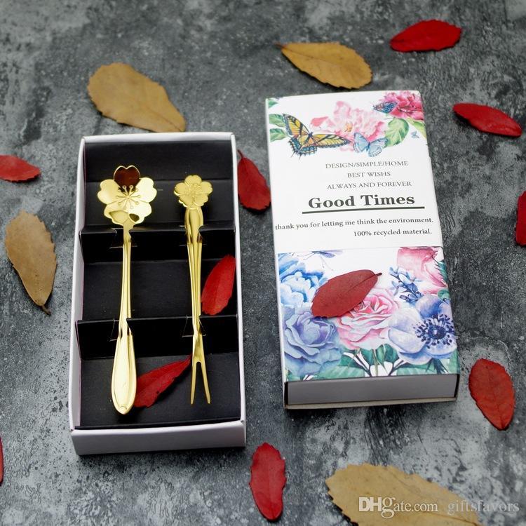 Hochzeit Rückkehr Geschenke glücklich immer nach Braut Bräutigam bevorzugt Goldsplitter Sakura Löffel Obst Gabel Set 50 Satz Menge Großhandel