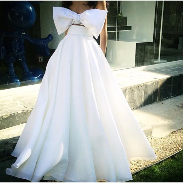 Formal Evening Celebrity Dresses Floor Length Ball Gown Two Pieces White Big Bow Bridal Party Prom Cocktail Gowns Arabic 2019 Custom Made
