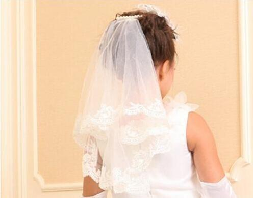 Цветочные девушки вуали 2019 свадебная аппликация длина плеча два слоя whie слоновая кость свадебная свадьба дешевая белая партия птицы невеста свадебные вуаль