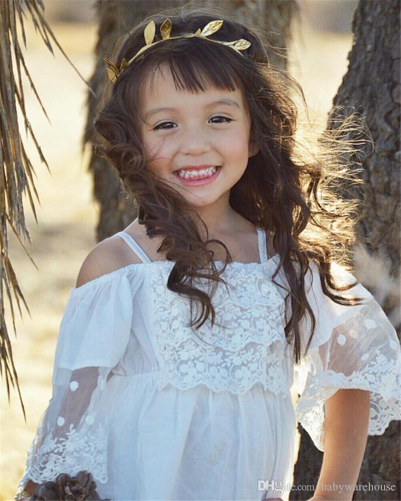 Vestiti delle ragazze del boutique Vestito da principessa dei bambini Vestito da cerimonia nuziale di spettacolo del partito del bambino Mini vestiti dai merletto bianchi di Off-spalla sveglie Vestiti delle neonate