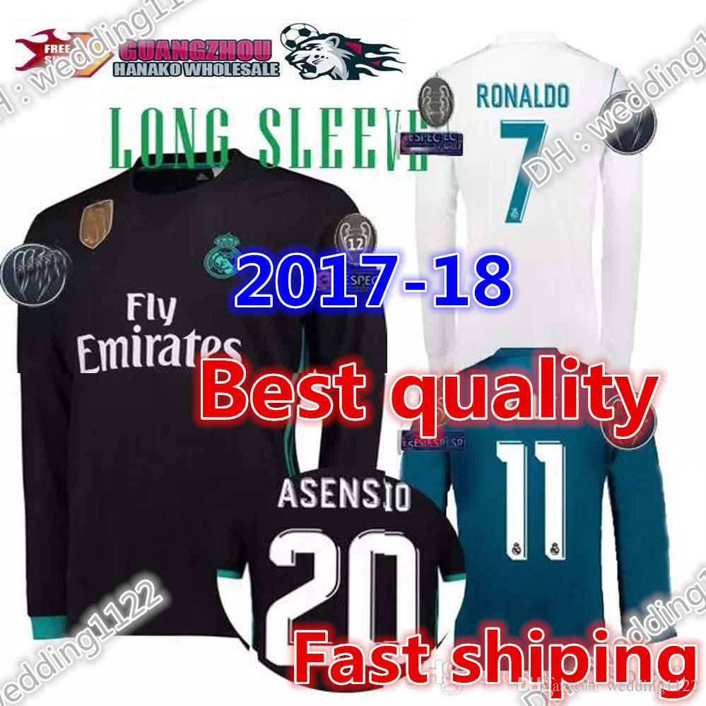 Top Madrid Long Sleeve Soccer Jersey Real Benzema Ronaldo Football ... ade8a111403d7