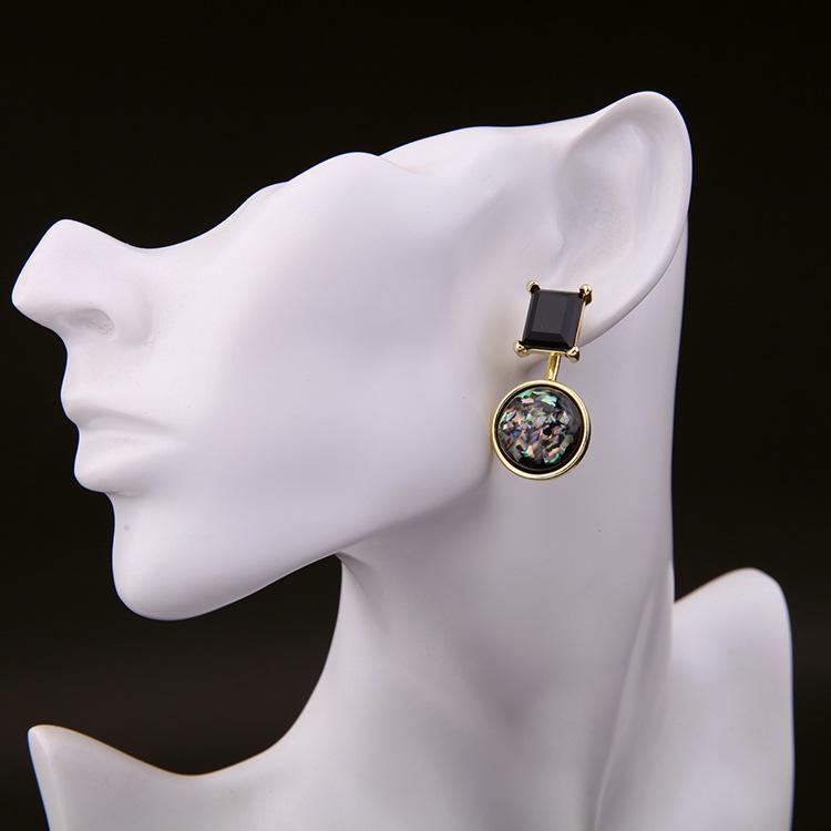 Hot Fashion Luxury Imitation Gold Überzogene Ohrringe Schmuck Edelstein Stil Glatte Strass Frauen Ohr Schnalle Stud