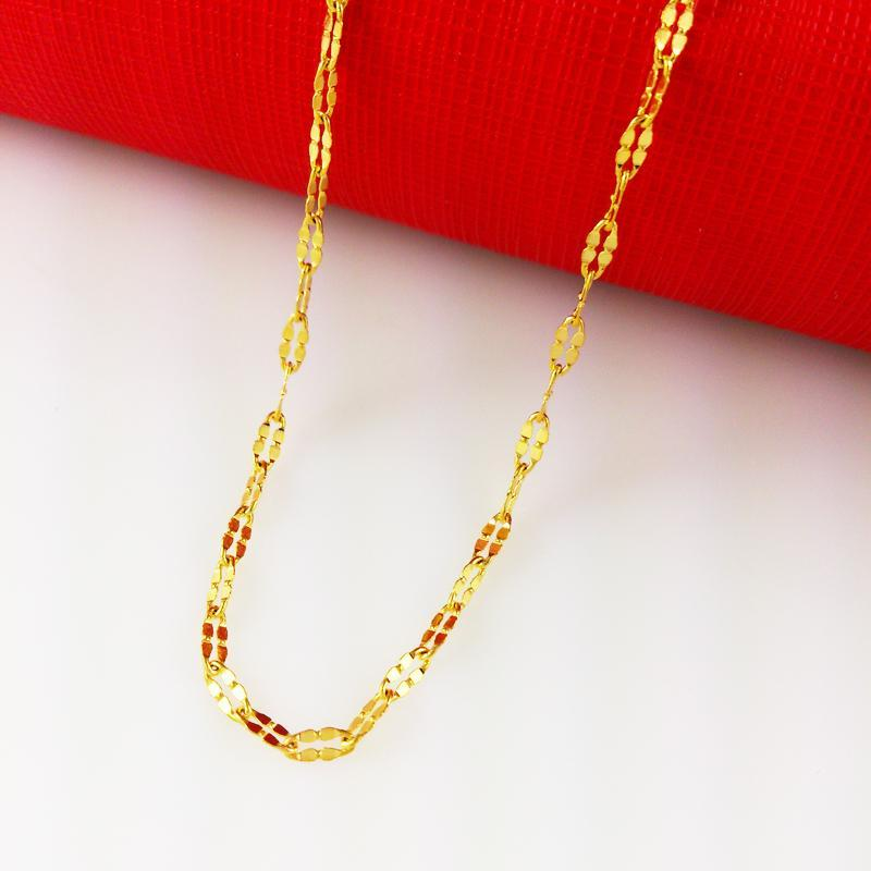 Fast Free Shipping yellow gold filled necklacediamond cutting women's necklaces chains width:2mm, Length: 45cm, weight:. 1.7g