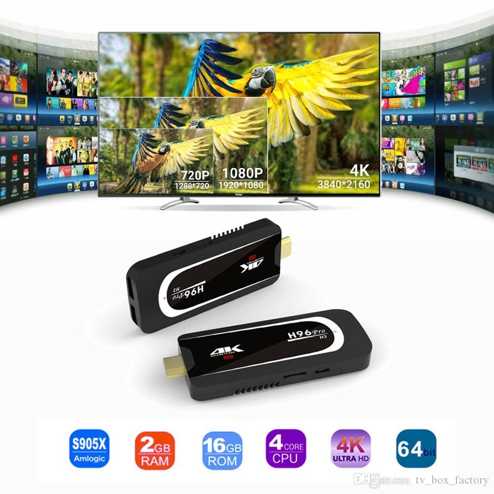Nuovo Android 7.1 TV Box H96 Pro H3 Plus Amlogic S905X Quad Core 2G 16G Dual WiFi Bluetooth H96Pro H3 TV Dongle