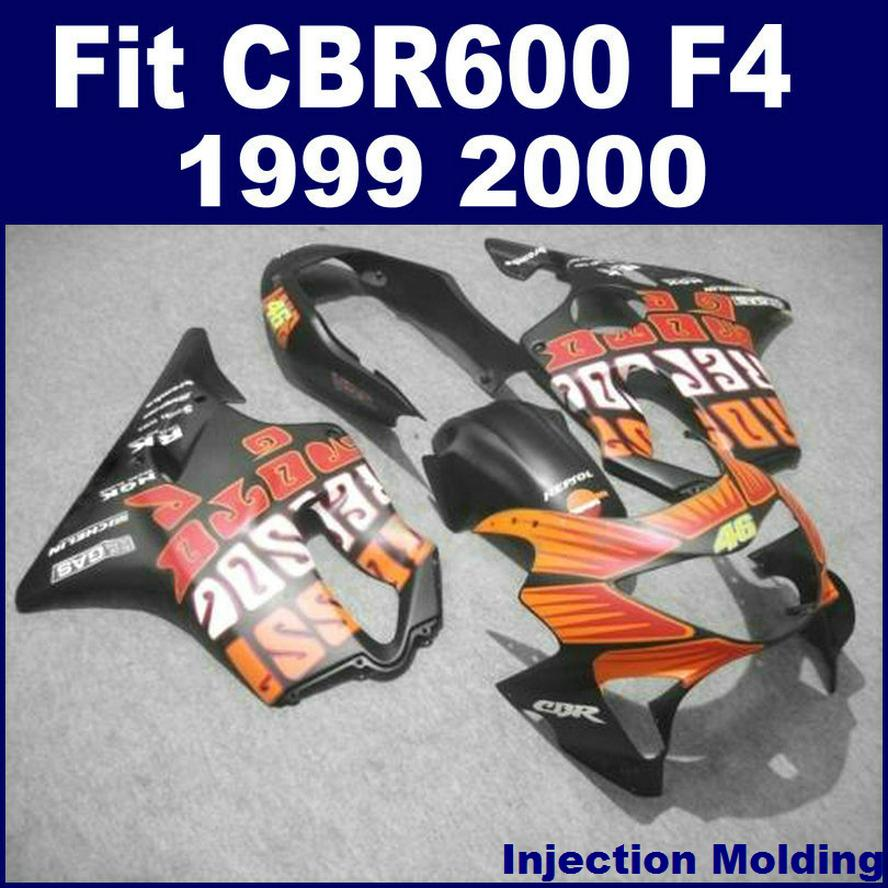 100% Spritzguss für HONDA Komplettverkleidungssätze CBR 600 F4 1999 2000 schwarz 99 00 cbr 600 f4 Verkleidungsteile 5VBH
