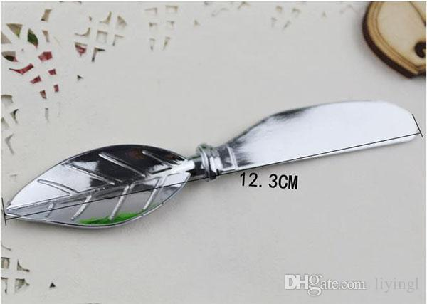 butter fork wedding favors butter spatula jam cheese spreader knife dinner fork 13cm leaves handle PVC box table decoration wedding gifts