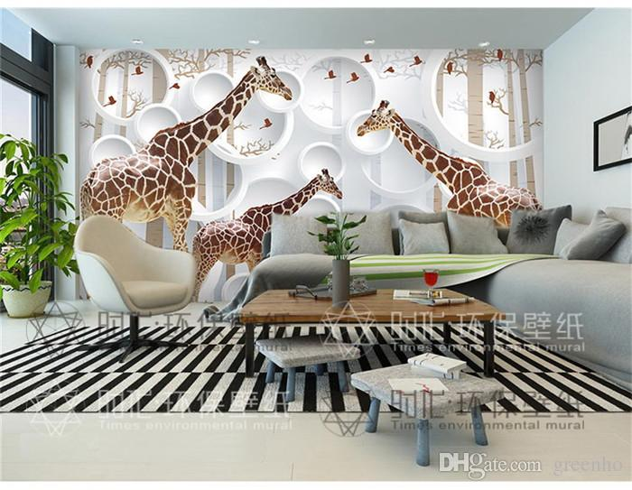 Unique 3d View Giraffe Photo Wallpaper Cute Animal Wall Mural Art Wall Decor Paper Childrens Room Nursery Living Room Office Hd Wallpaper S Hd