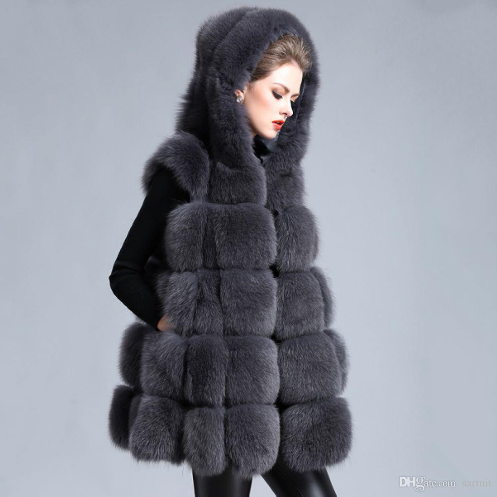 aecae5bc4b1 Luxury Faux Fur Vest 2018 NEW Exquisite Faux Fox Fur Women Hooded Gilet  Luxury Fake Fur Ccoats F0235 S-7XL Plus Size