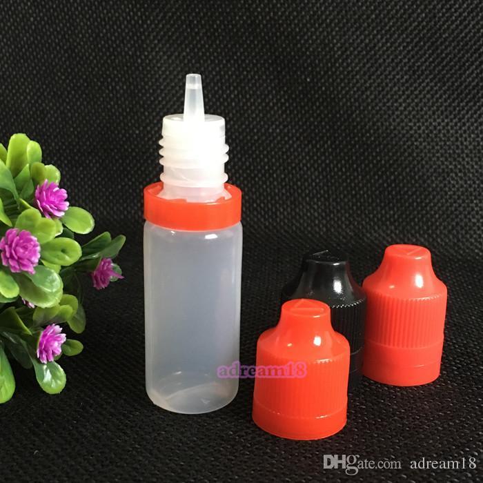 긴 얇은 팁 / 부지 다채로운 탬퍼 분명 인감 및 아동 증명 빈 병 10ml의 E 액체 플라스틱 스포이드 병