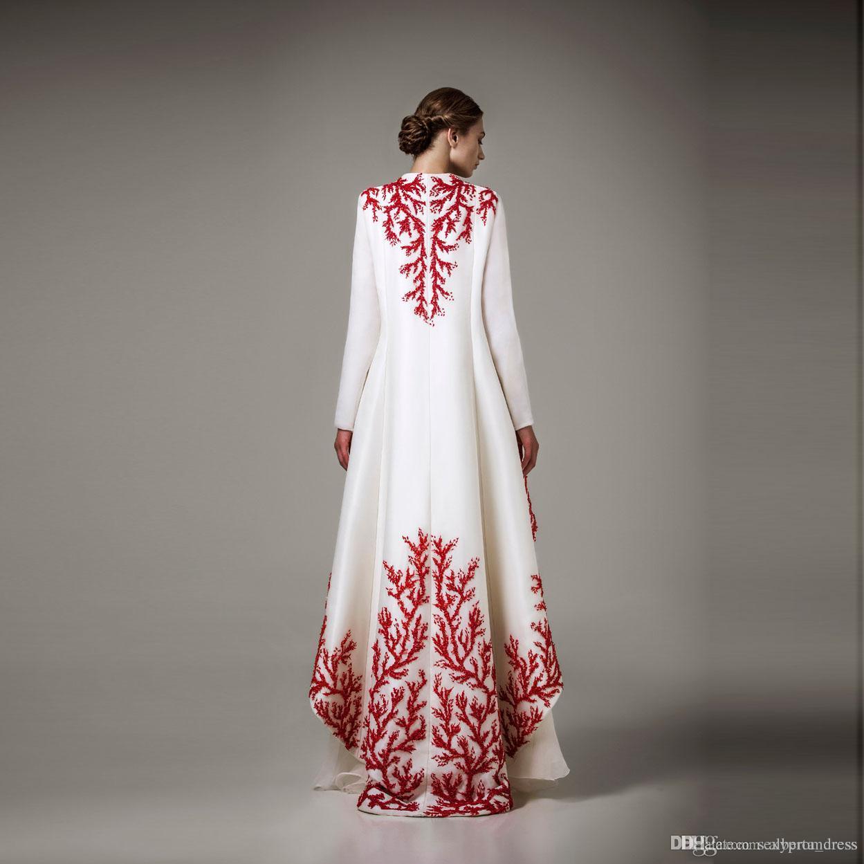 Eleganti abiti da sera bianca e rossa Abiti da sera Ashi Studio Manica lunga A Line Prom Dresses Formal Wear Women Cape Party Abiti da festa Solo cappotto