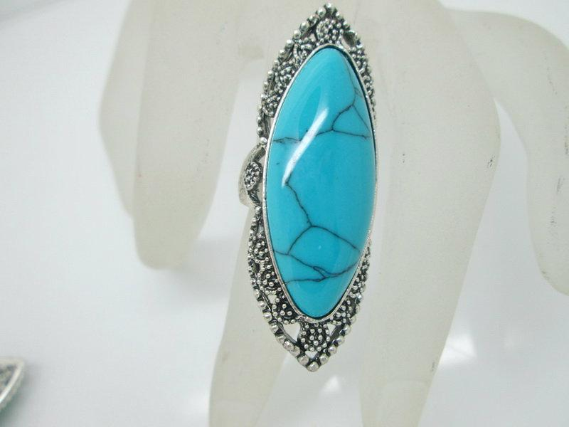 الأحجار الكريمة خمر خواتم أزياء خاتم مجوهرات خاصة مع الفيروز الملونة التبتية خواتم الفيروز خواتم تصاميم متنوعة