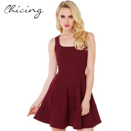 e78f8976a606 Women Party Skater Dress Fashion 2015 Summer Cute Mini Dress Casual  Sleeveless Halter Pleated Female Dresses With Zipper 1503052 Formal Gown  Prom Dress ...