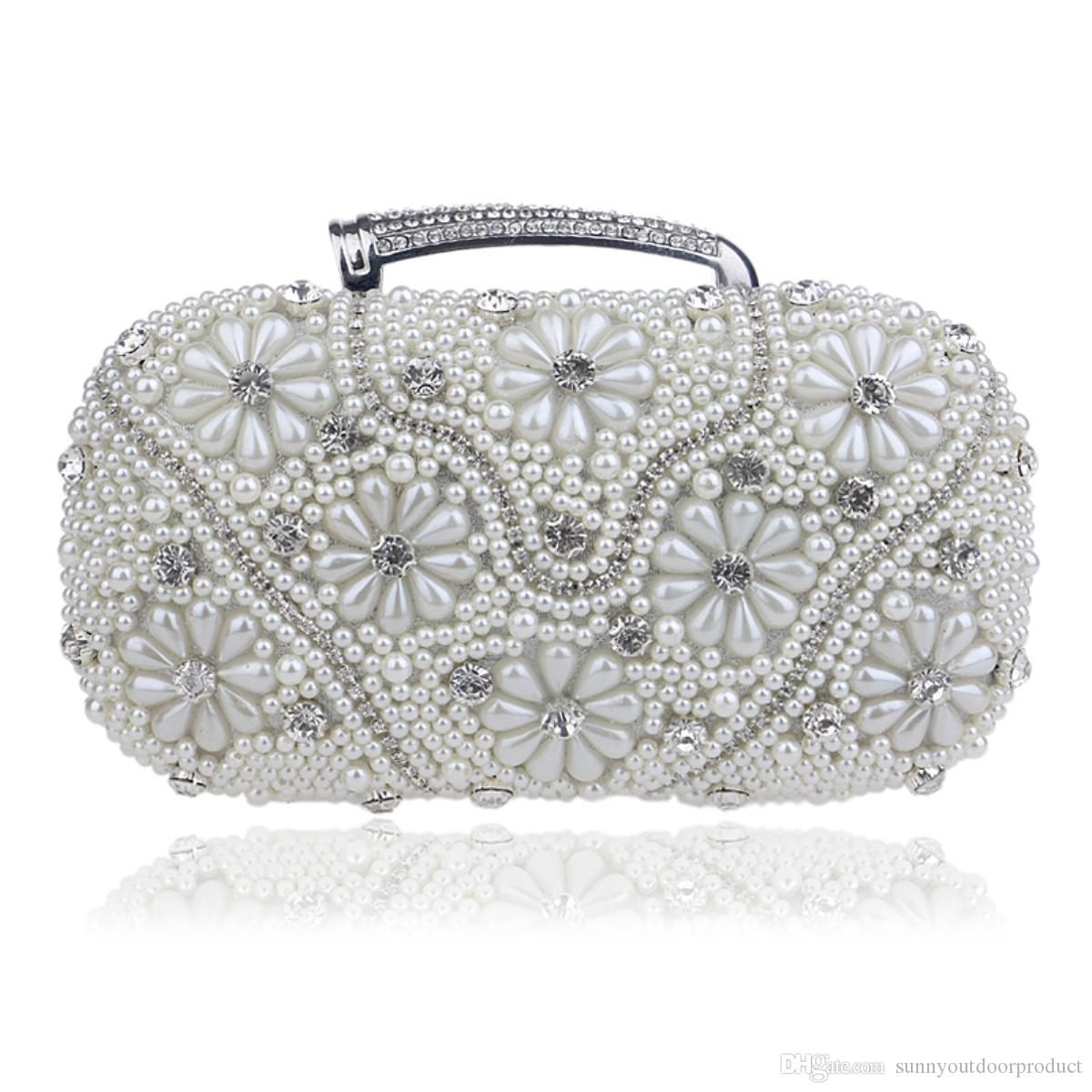 New Fashion Pearl Flower Beaded Rhinestones Women Evening Bag With Handle Lady  Clutch Shoulder Bag Chain Handbag Purse For Wedding Party Designer Bags ... dc0934b3dff1