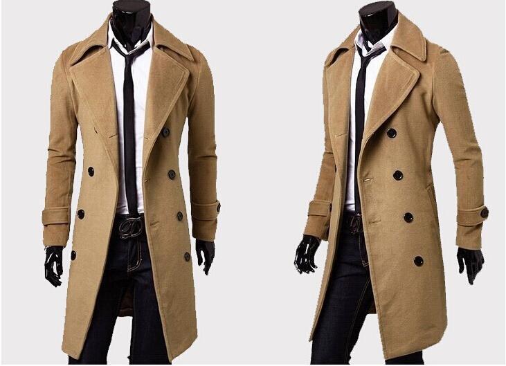 Hot Sale 2015 New Brand Winter Mens Long Pea Coat Men's Wool Coat Turn Down Collar Double Breasted Men Trench Coat England Wind