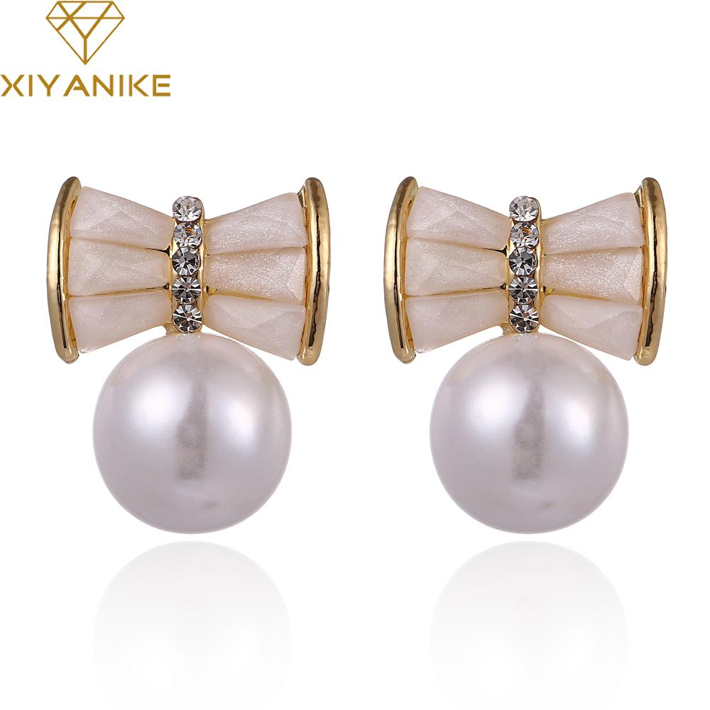 bdb9aae5d New Luxury Brand Design Trendy Sweet Bowknot Fashion Lovely Large Pearl  Stud Earrings Ladies Earrings Brincos De Festa XY-E524 High Quality Earrings  Dou ...