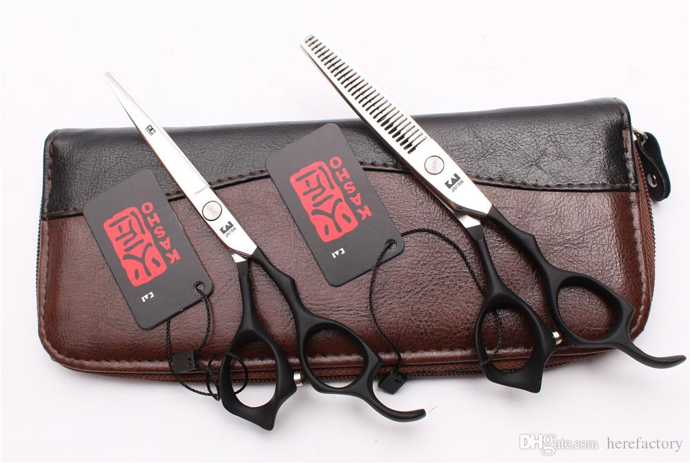 "6"" 17.5cm 440C Kasho Black Elastic Handle Professional Human Hair Scissors Barbers' Scissors Cutting Thinning Shears Style Tools H1124"