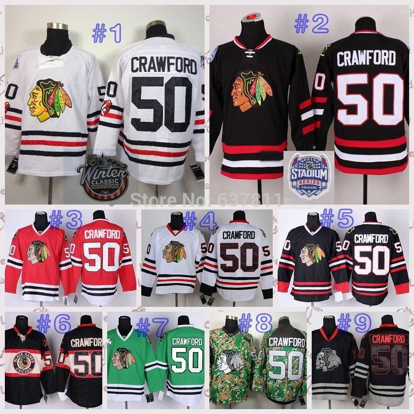 1df533eb265 ... 2015 Winter Classic Chicago Blackhawks Hockey Jerseys 50 Corey Crawford  Jersey Home Red White Black Skull ...