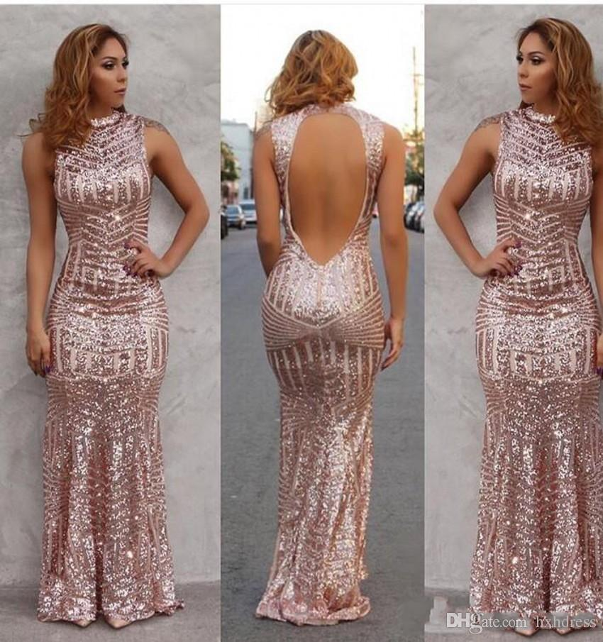 2019 Nueva Sparkly Rose Gold Sexy sirena vestidos de baile con lentejuelas espalda abierta piso de longitud vestidos de fiesta por la noche por encargo envío gratuito 297
