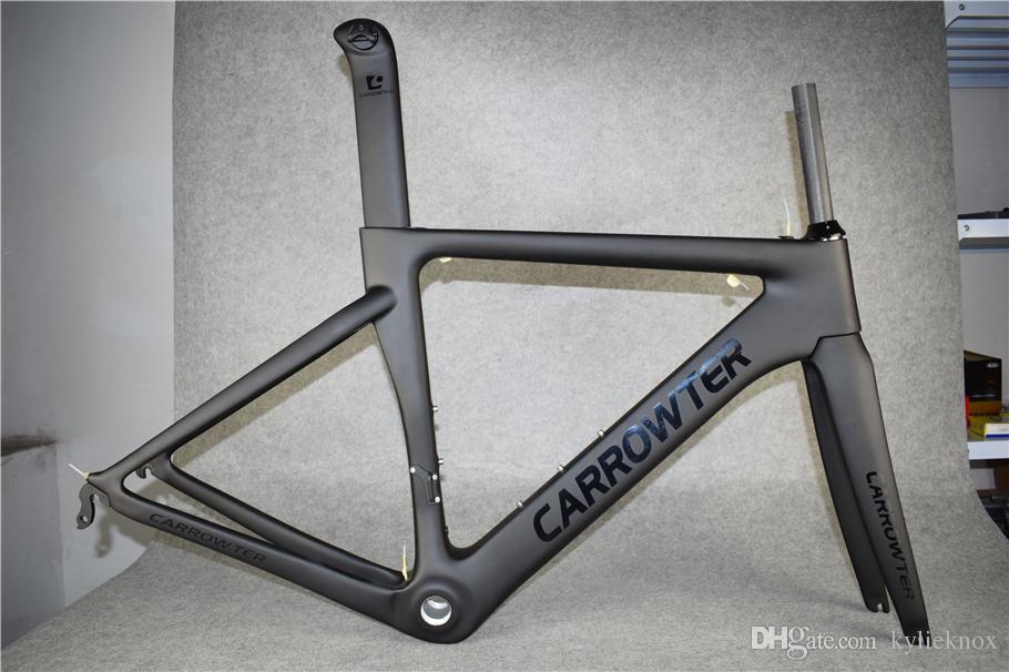 Packaged for sale full carbon fiber UD BOB Black on Black CARROWTER carbon road bike frames+CARROWTER 1K aero carbon Handlebar