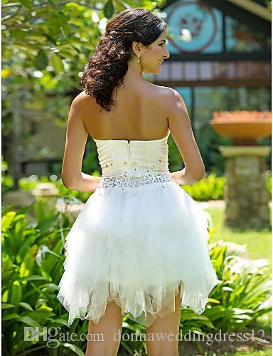 2016 Nieuwe Hot Fashion Gratis Verzending Elegante Baljurk Ivory Short / Mini Strapless Kralen Satijn / Tule Trouwjurken 144