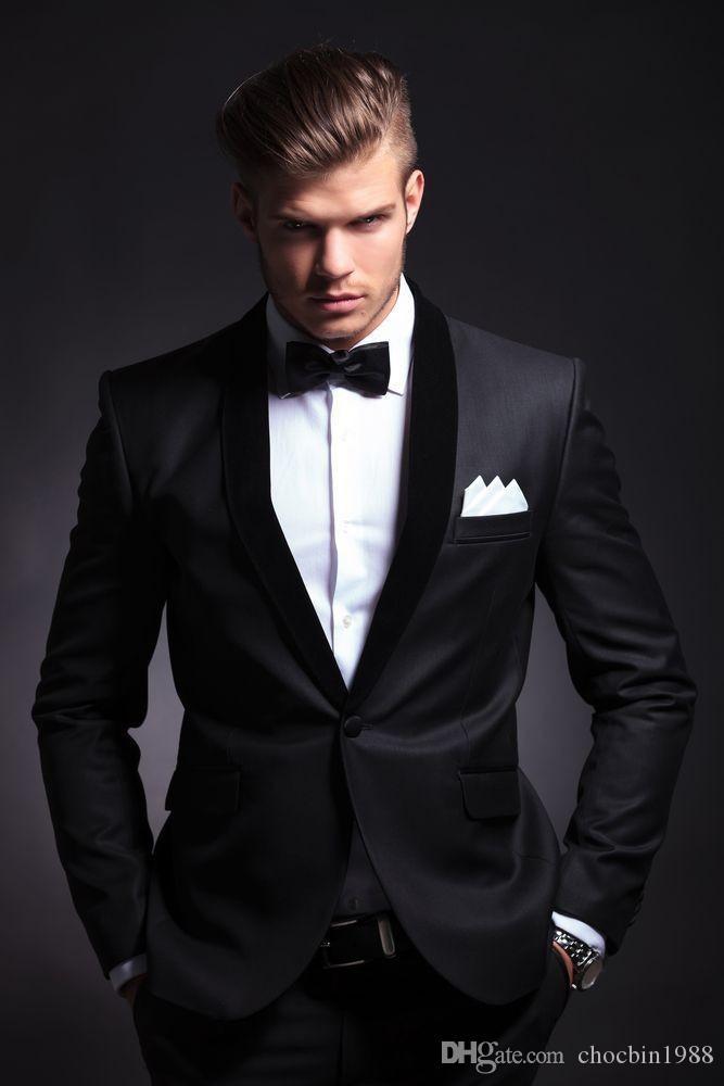 2015 Best Selling Black Mens Wedding Suits Custom Made Slim Fit ...