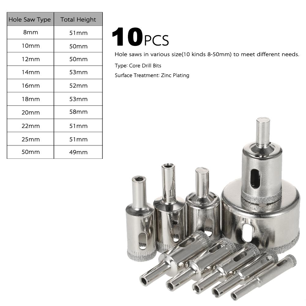 10PCS 8-50mm glass drill bit glass Hole Saw Kit diamond core bit for tile Marble Drill Bit Tile Ceramic Glass Porcelain Drilling