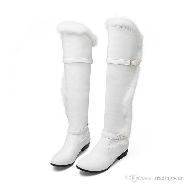 Plus Size 34 to 40 41 42 43 44 Bridal Wedding White Boots Over The Knee Boots Fur Shoes Women