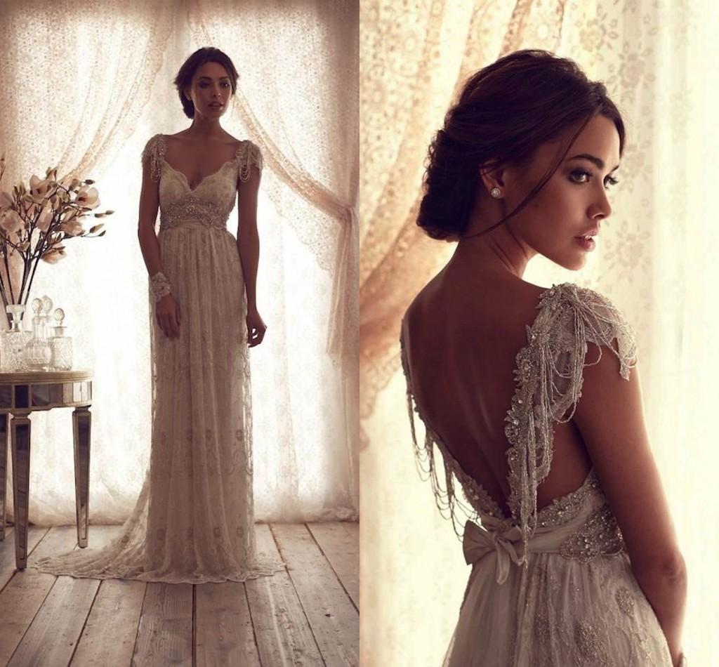 Backless Beach Wedding Dresses V Neck Flowing Vintage Boho: 2016 Vintage Beach Wedding Dresses Deep V Neck Cap Sleeves