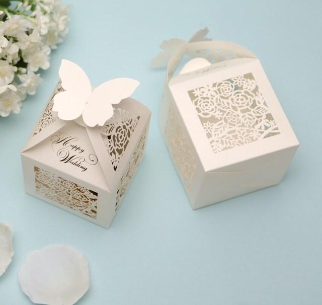White Gold Red Wedding Favor Box Print Laser Cut Paper Bags Small Gift Chocolate Sweet Favors Candy Boxes For Gifts Party Packaging Card