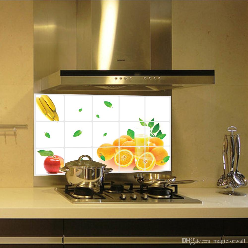 Fruits kitchen wall stickers oranges , banana , apple wall art designs stick wall decals
