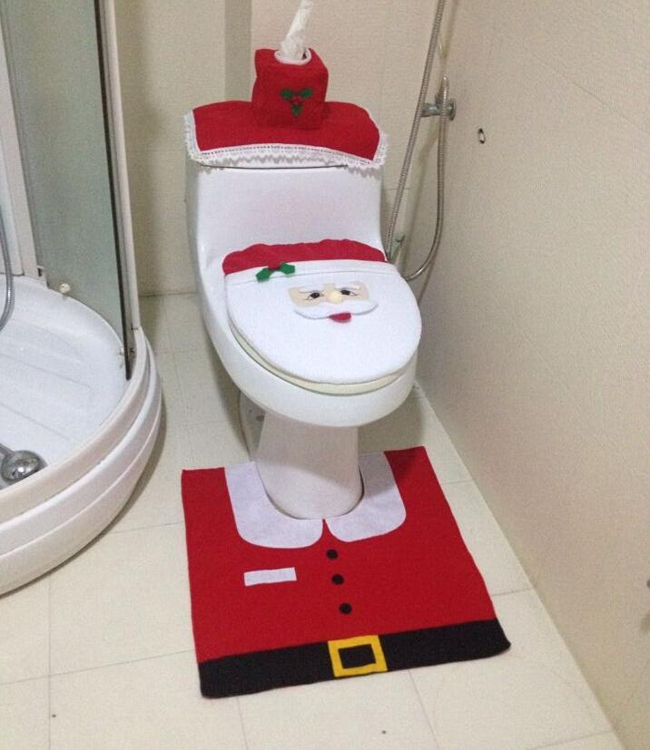 Merry Christmas Decorations merry christmas decoration ornaments santa claus toilet tank lid