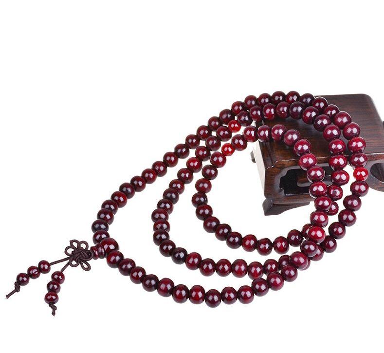 الأزياء التبت البوذية 108 * 8 ملليمتر خشبية الوردية الخرزة سوار متعدد الطبقات bowknot أساور بودي الصندل سوار مجوهرات الحظ أساور