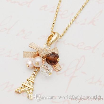Fashion Charm Jewelry Pendant Chain Crystal Gold Plated Tower Statement Necklace Woman bowknot France Paris Eiffel Tower Pendants Free DHL